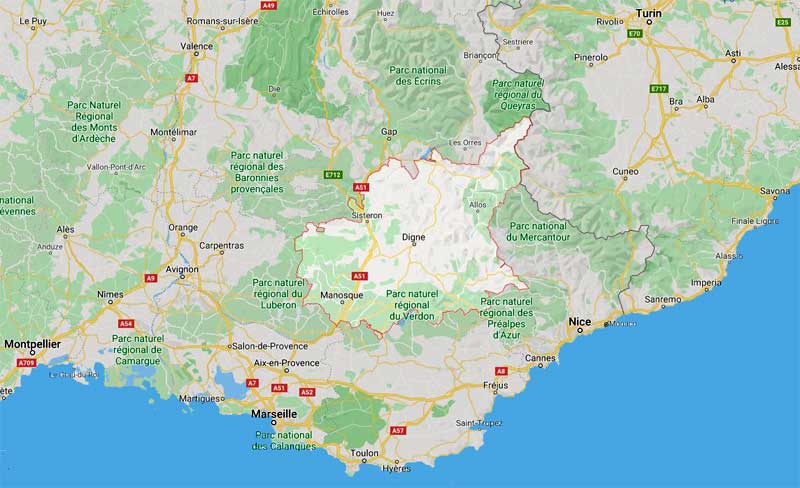 Map showing where Alpes de Haute Provence is in France