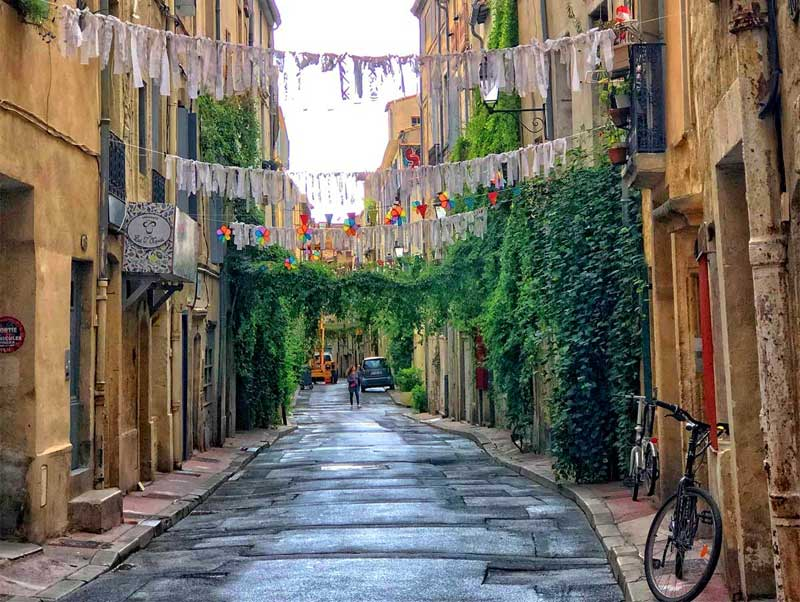 Residential street in Montpellier hung with bunting and vines growing up walls and across the road