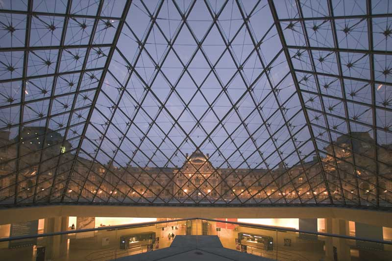View of the Louvre from inside the Pyramid, Louvre