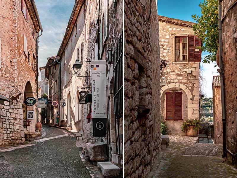 Cobbled streets lined with pretty stone houses and boutiques in St Paul de Vence
