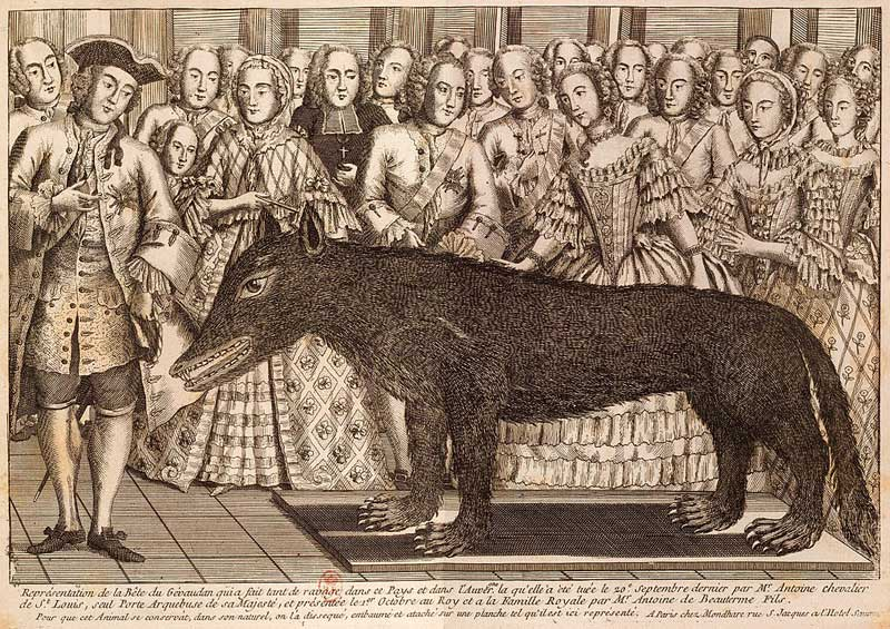 Print showing the presentation of a stuffed wolf at the court of French King Louis XV