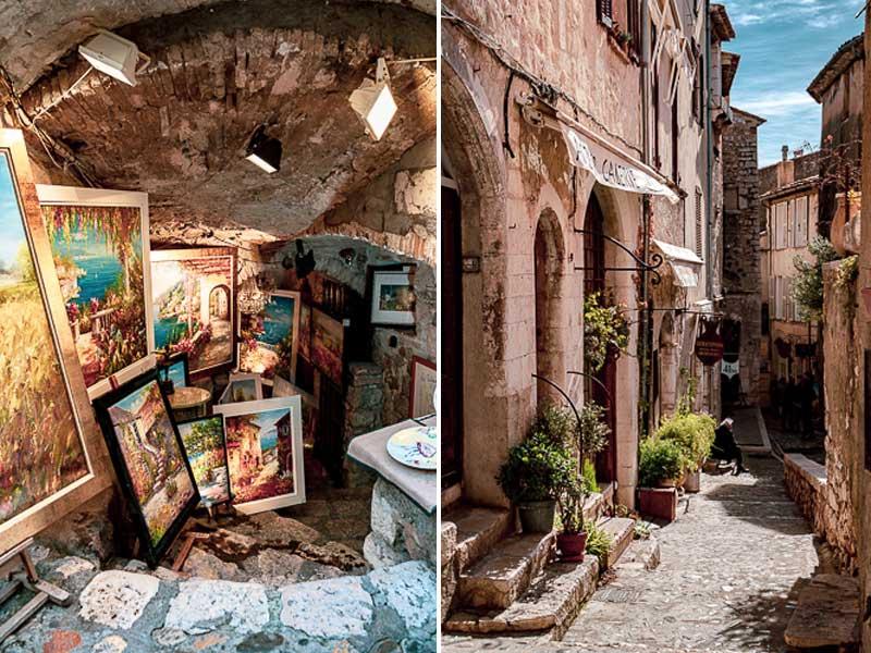 Art gallery in a stone cellar in St Paul-de-Vence Provence
