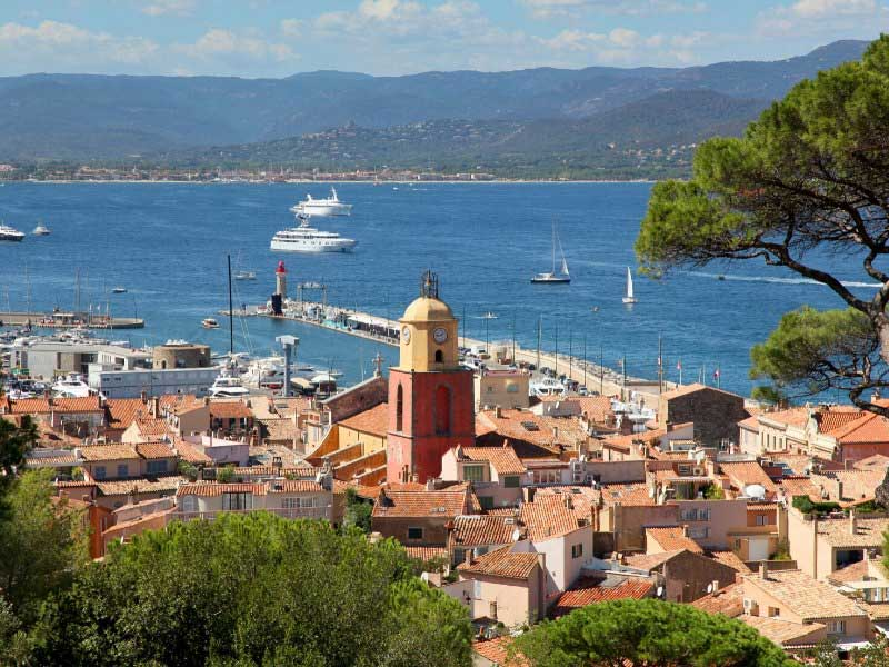 View over the old town of St Tropez, luxury yachts in the sea