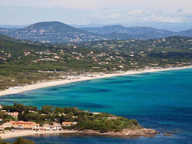 Pampelonne Beach, St Tropez, long golden sands lapped by the Mediterranean Sea