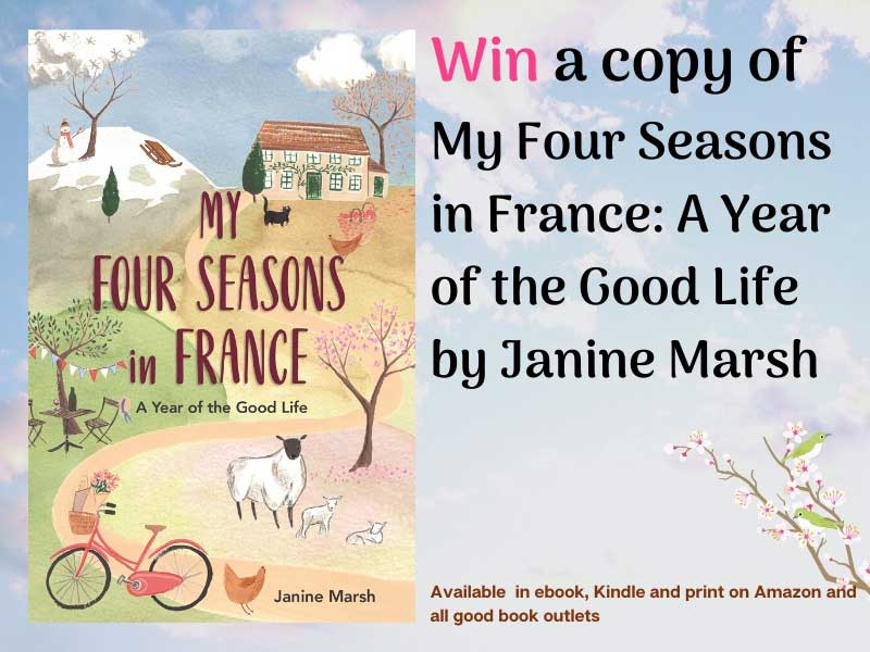 Book jacket showing sheep, farmhouse and chickens, for My Four Seasons in France by Janine Marsh