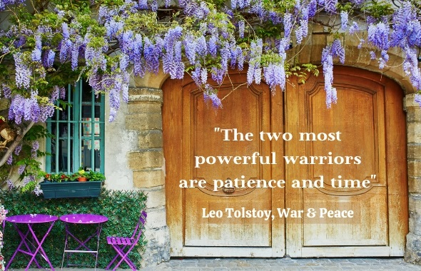 """Wisteria growing over a closed door with quote """"the 2 most powerful warriors are patience and time"""""""