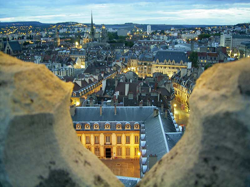 View over Dijon at dusk, slate roofed buildings and lit streets, from the top of a tall tower