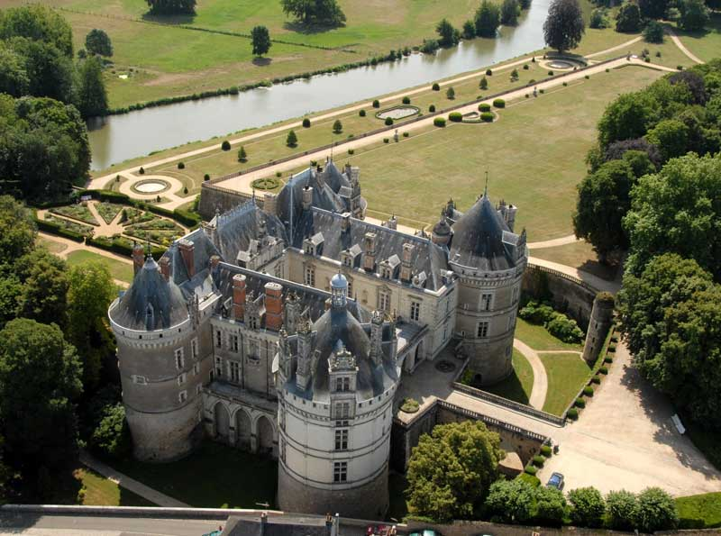 Aerial view of the Chateau du Lude in the Loir Valley, pointy towers and white stone walls