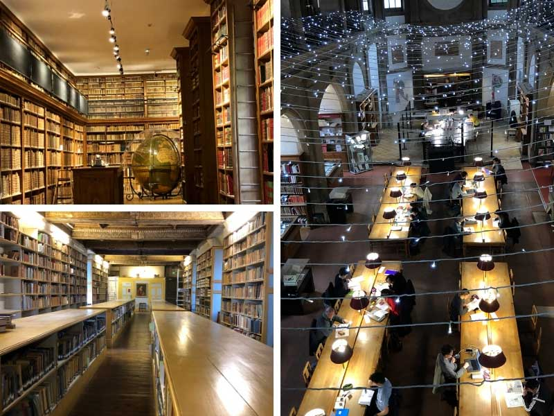 Library reading room hung with twinkling fairy lights, shelves of old books, Dijon
