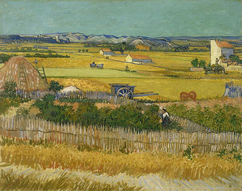 Painting by Van Gogh of the harvesting of wheat in southern France