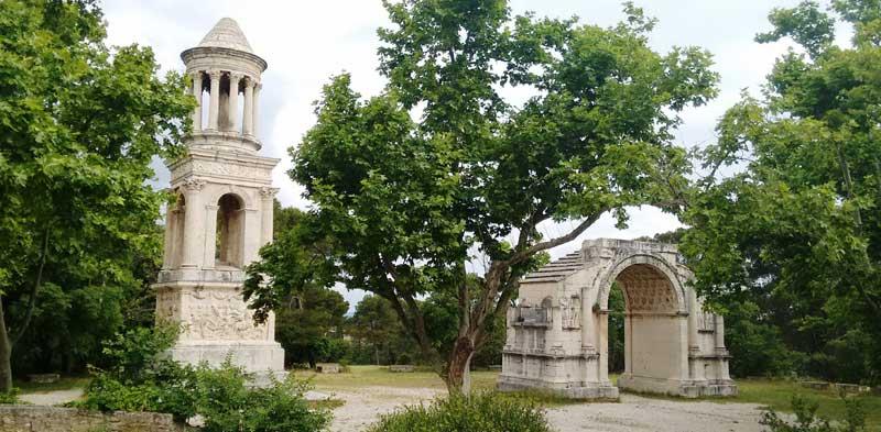 Romain ruins, a mausoleum and arch at Saint-Remy de Provence, France