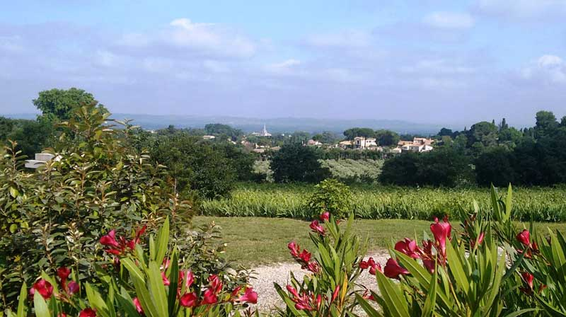 View over Saint-Remy-de-Provence, surrounded by vineyards and fields
