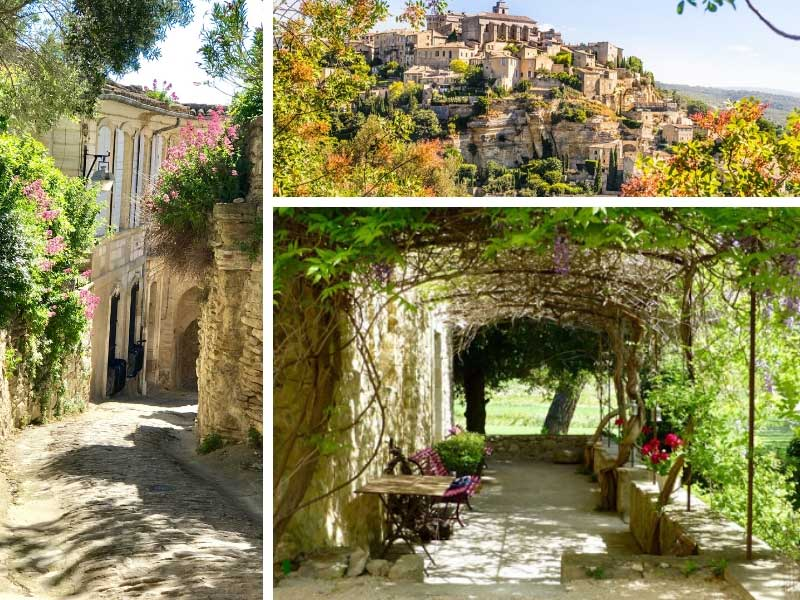 Provence views, flowery streets and walkways and a hill top town surrounded by trees in bloom