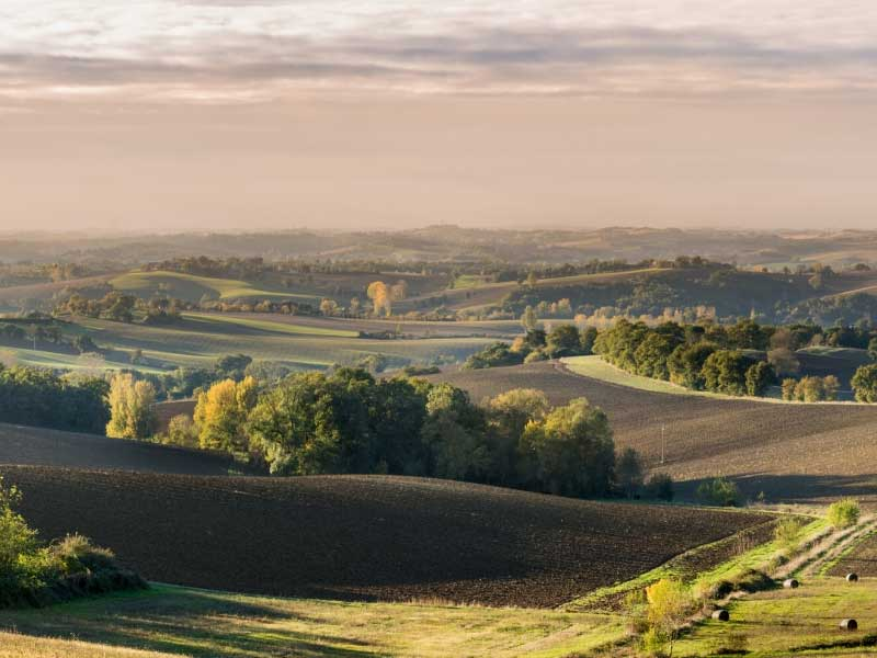 Beautiful countryside of Gers, rolling hills covered in vineyards and forests