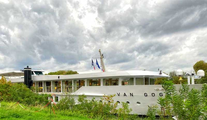 Ship called the Van Gogh, tied to the riverside at Avignon, Provence