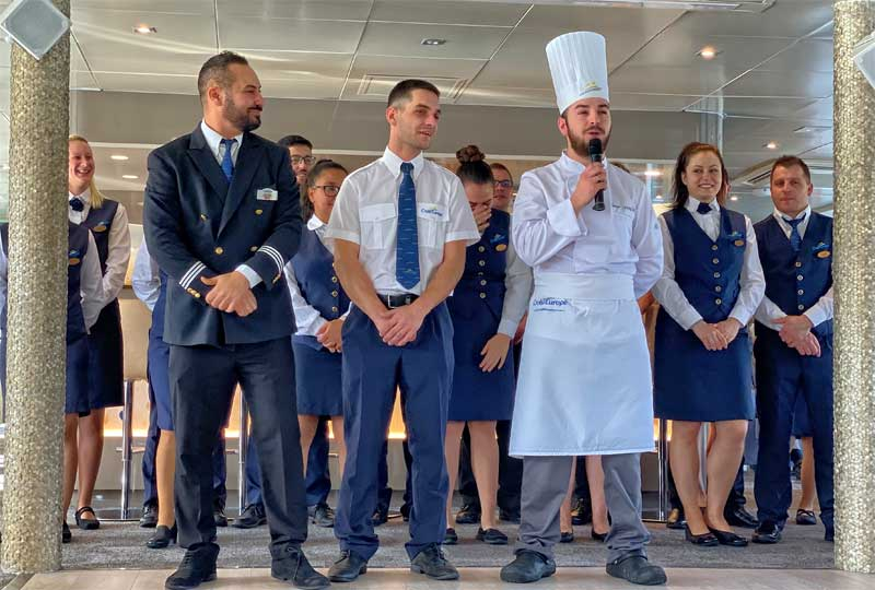 Captain and crew on board Croisieurope ship welcoming guests