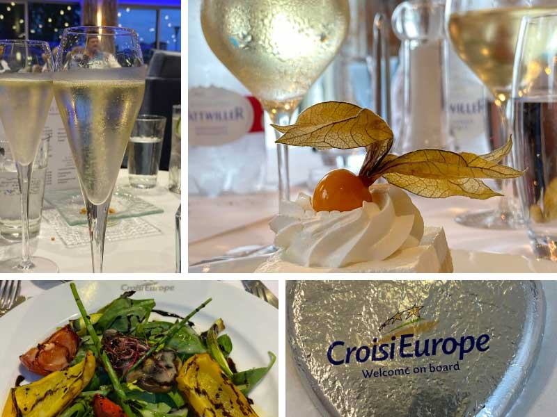 Glasses of Champagne on a table in dining room on Croisieurope ship