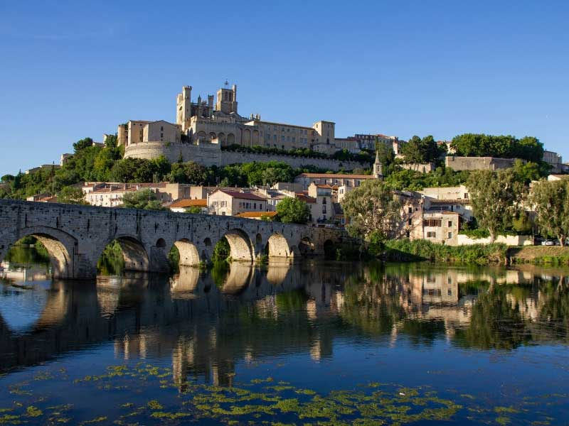City of Beziers, a hilltop castle dominates the towh which sits alongside a river