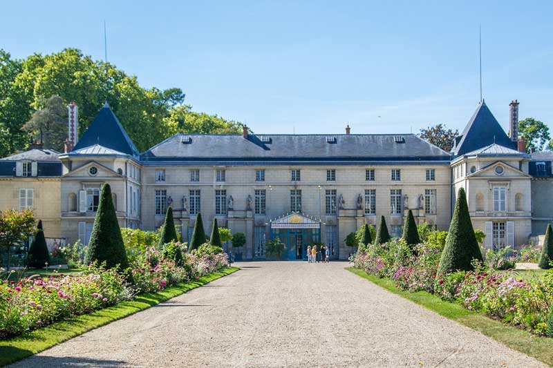 Chateau of Mamaison, home to Josephine Bonaparte, reached by an avenue lined with flowers