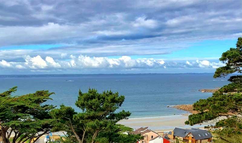 View over an empty sandy beach at Trebeurden, Brittany