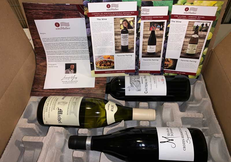 Box of wine with tasting and food/wine pairing notes