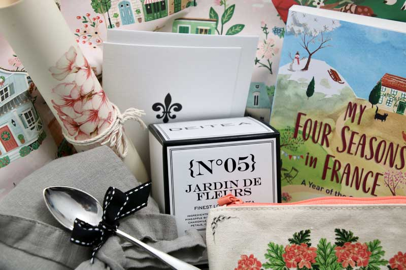 French style stationery, books, bags and antiques in a gift box