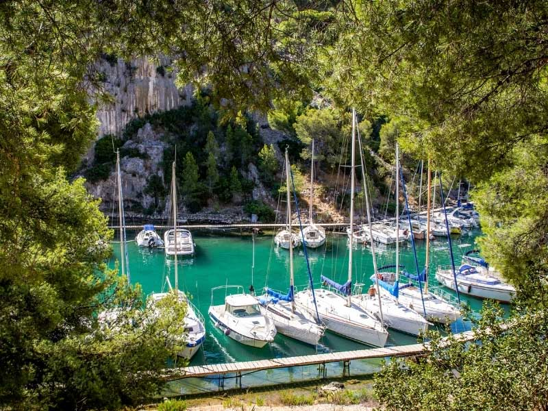 Boats in a small harbour in the Marseille area known as the Calanques