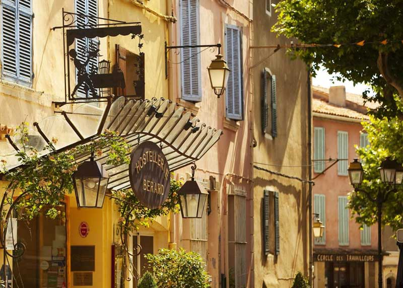 Hotel in Provence, very pretty with blue shutters and pale yellow walls