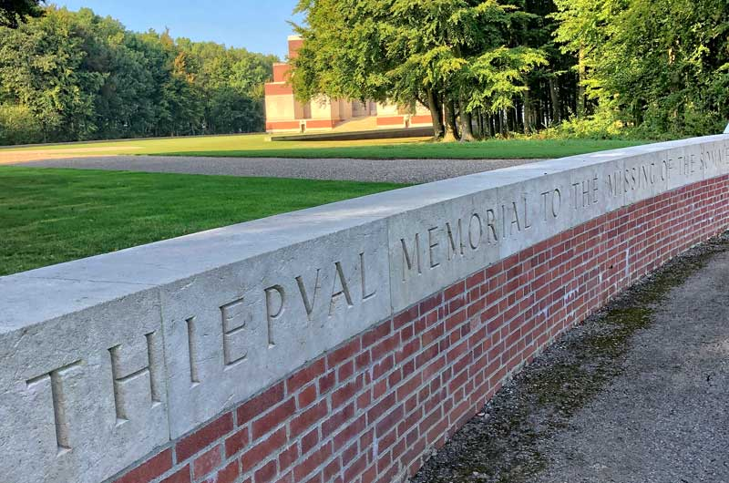 Wall of Thiepval Memorial to the dead of the Somme in WWI