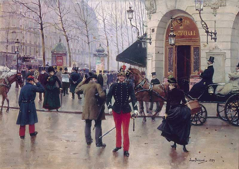 Painting from the Belle Epoque era showing Paris street with advertising columns