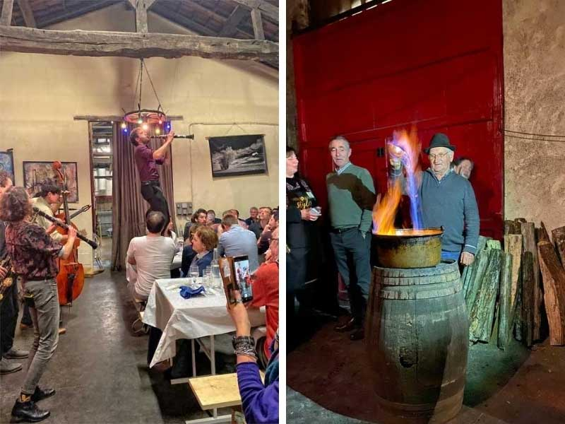 Party in a wine cellar to celebrate the distillation of Armagnac