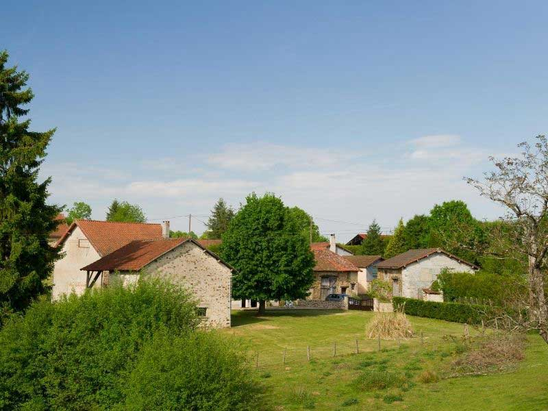 Stone barn style houses in the Vienne Department, France