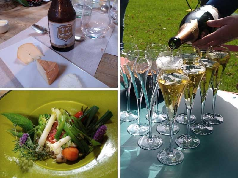 Man pours sparkling wine and serves delicious fresh vegetables at a picnic in Montreuil-sur-Mer