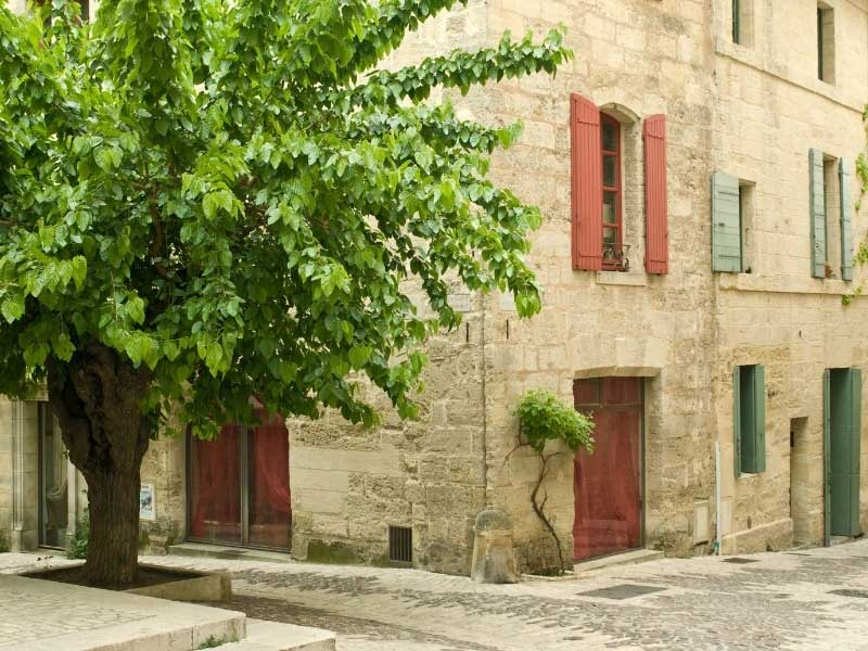 Stone house with red and green shutters and a small courtyard with a tree in