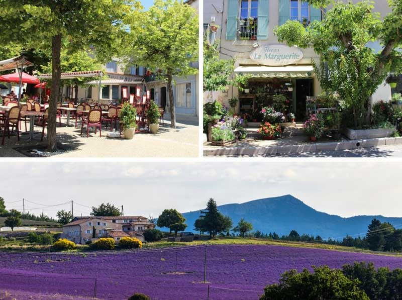 Cobbled streets, cafes and boutiques in the village of Sault, Provence