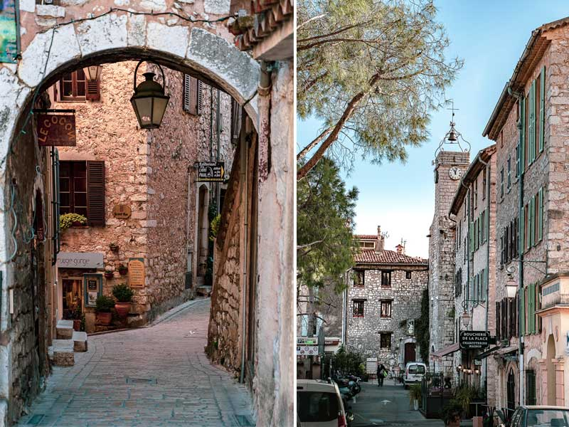 Street views of Tourrettes-sur-Loup, cobbled streets, stone arches and ancient towers