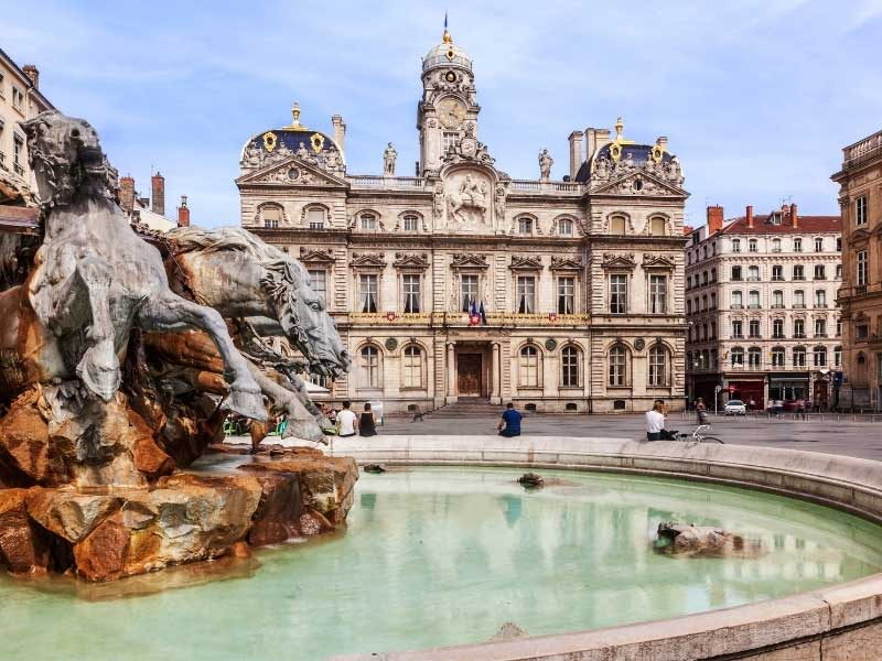 Fountain in the city of Lyon, southern France