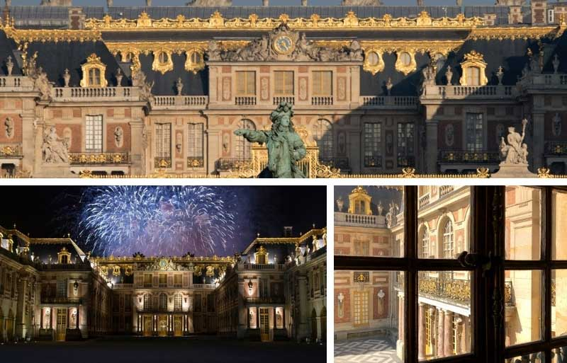 Chateau of Versaillese, it's roof adorned with golden decorations shining in the sun