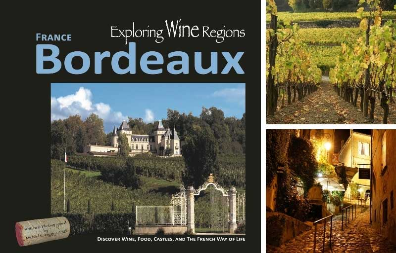 Front of book called Exploring Wine Regions - Bordeaux showing a vineyard and castle