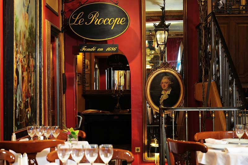 Interior of the Le Procope cafe in Paris, its walls reflect hundreds of years of existence
