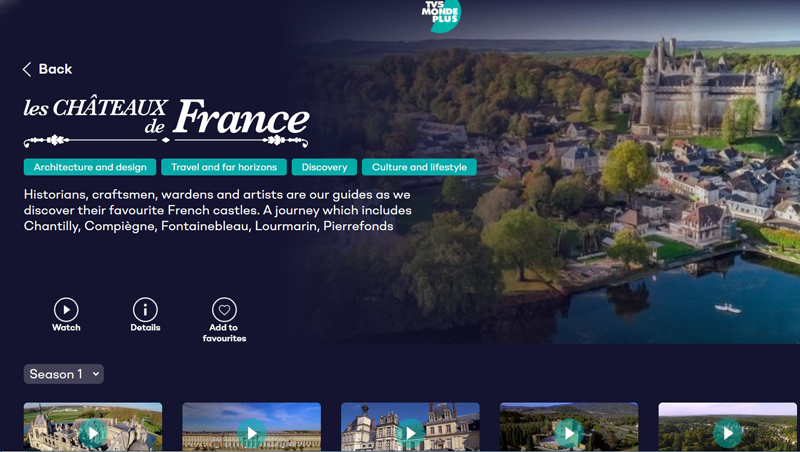 TV screen shows programme about Castles of France
