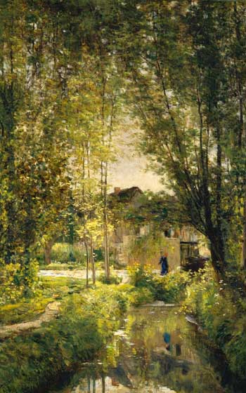 Painting showing the forest of Barbizon