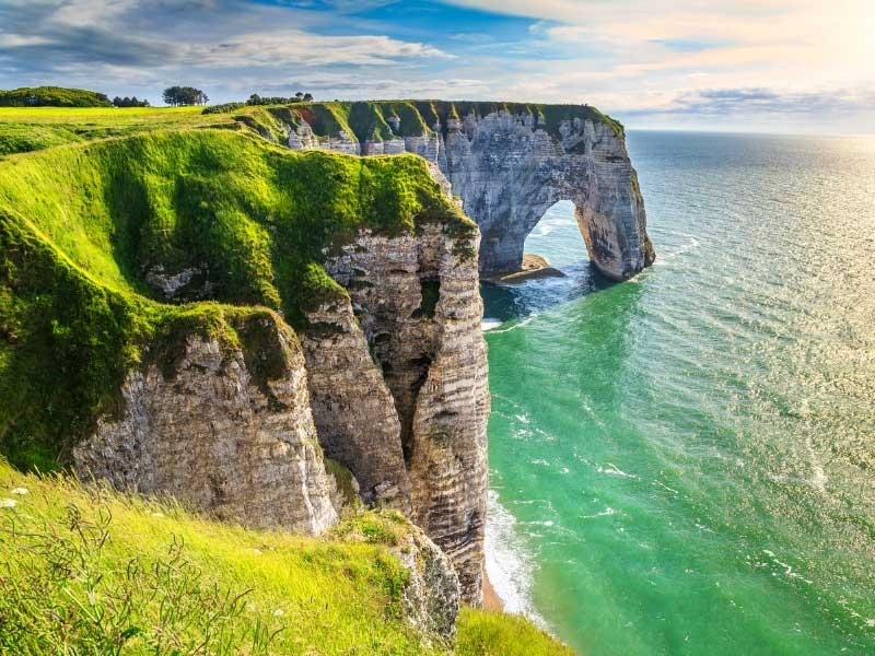 View from the cliff top of Etretat over the sea