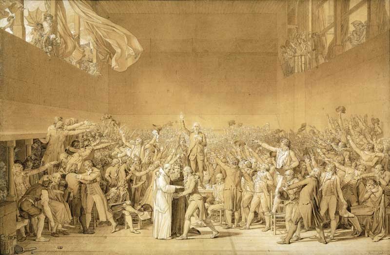 Painting of the Tennis Court Oath, men voting to establish a new constitution in France in 1789