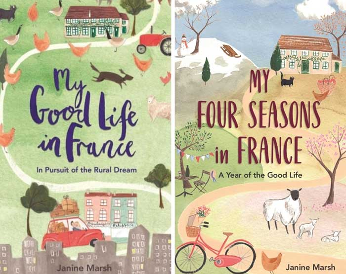 Book jackets showing a little french farmhouse and farm animals by Janine Marsh
