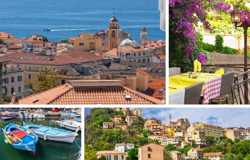 Terracotta rooftops overlook the Mediterranean Sea and bright coloured flowers bloom round a doorway