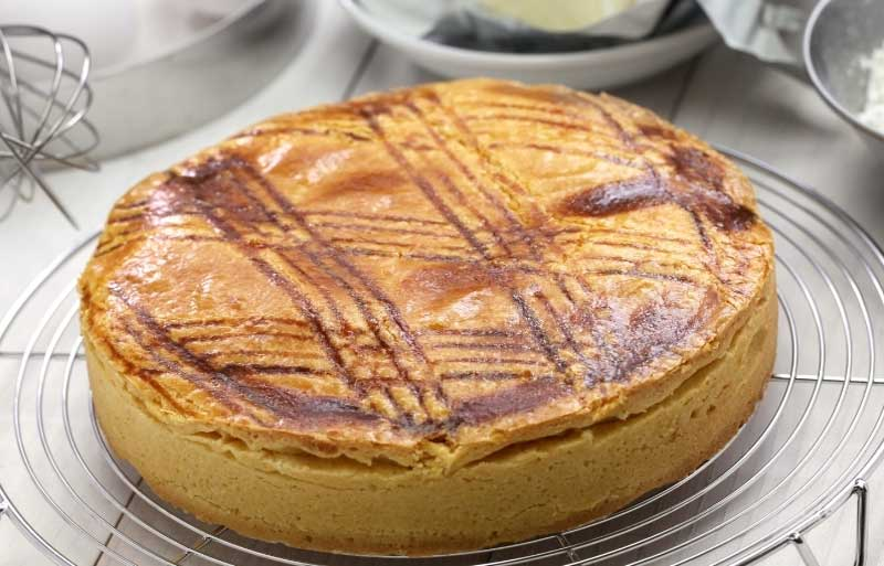 Gateau basque a cake with a pastry bottom and top filled with pastry cream